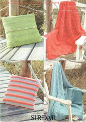 Sirdar 7749 cushion cover and throw afghan shawl knitting pattern