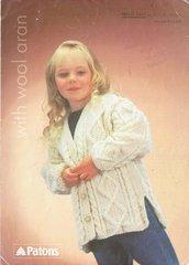 Patons 2447 girls aran cardigan vintage knitting pattern