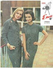 Emu 2352 ladies suit vintage knitting pattern