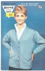 Bestway 3671 ladies cardigan vintage knitting pattern