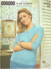 Patons 9829 ladies summer top vintage crochet and knitting pattern