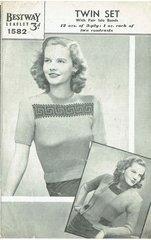 Bestway 1582 ladies twinset vintage knitting pattern