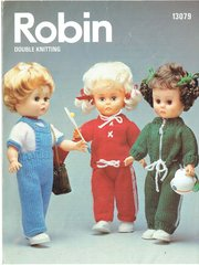 Robin 13079 dolls clothes vintage knitting pattern