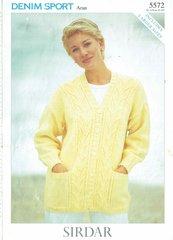 Sirdar 5572 ladies cardigan vintage knitting pattern