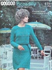 Patons 6201 ladies dress vintage crochet pattern