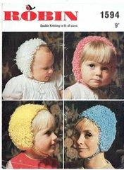 Robin 1594 baby hats vintage knitting pattern