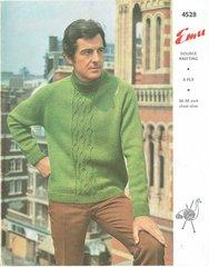 Emu 4528 mens cable panel jumper vintage knitting pattern