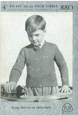 Patons 880 boys v-neck jumper vintage knitting pattern