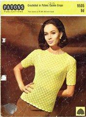Patons 9505 ladies summer top vintage crochet pattern