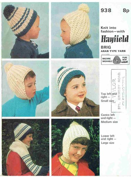 Hayfield 938 Baby Hats Vintage Knitting Pattern Knits And Pieces