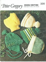 Peter Gregory 330 baby hat bonnets vintage knitting pattern
