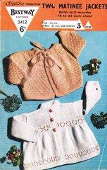 Bestway 3412 baby matinee coats vintage knitting pattern