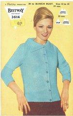 Bestway 3614 ladies cardigan vintage knitting pattern