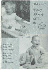 Patons 360 baby pram set vintage knitting pattern