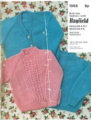 Hayfield 1056 baby jumper cardigan vintage knitting pattern