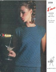Emu 2550 ladies top skirt suit vintage knitting pattern