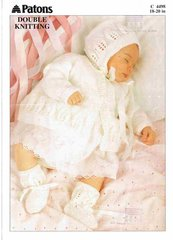Patons 4498 baby matinee coat and bonnet leaf vintage knitting pattern