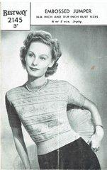 Bestway 2145 ladies short sleeve jumper vintage knitting pattern