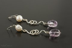 Freshwater Pearl and Ametrine Earrings