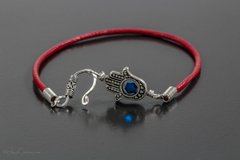 Red Leather Hamsa Bracelet