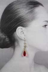 Ruby Red Crystal Dangle Earrings