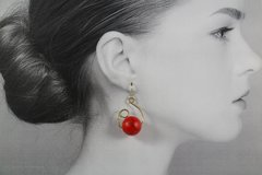 Red Ceramic Ball Dangle Earrings