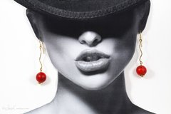 Red Ceramic Ball Drop Earrings