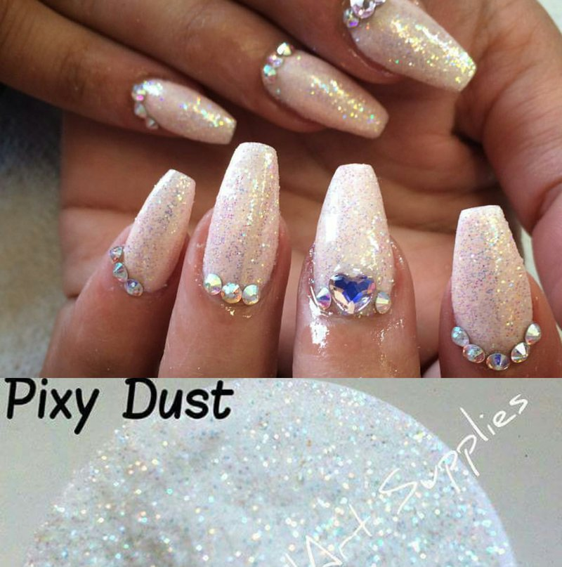 White Iridscent Glitter in various sizes | V\'s NailArt Supplies