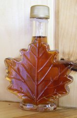 Maple Syrup in Glass Leaf Container