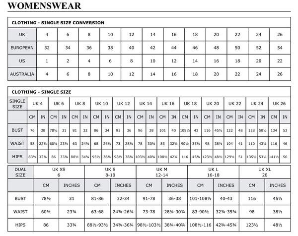 measurement chart clothing uk women: Size guide women s clothing fashion trends aloveitboutique