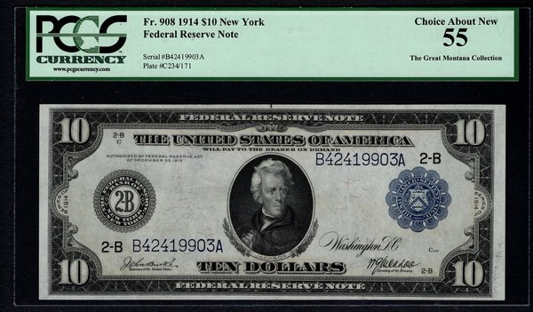 1914 $10 New York FRN PCGS 55 Fr.908 Federal Reserve Note Item #59028600