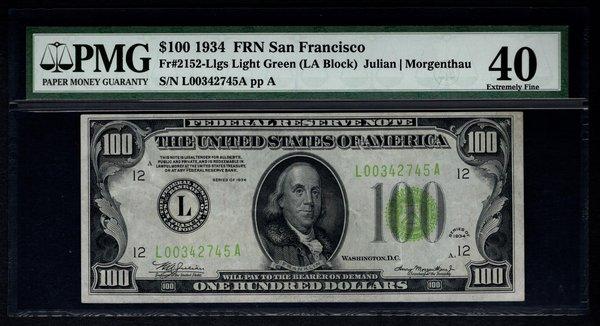 1934 $100 San Francisco FRN PMG 40 Fr.2152-L LGS Light Green Seal Item #8014717-001