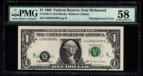 1995 $1 ERROR District Overprint Misalignment PMG 58 Richmond FRN Item #1740432-003