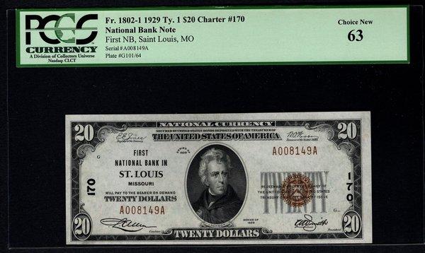 1929 $20 First National Bank St. Louis Missouri PCGS 63 Fr.1802-1 Charter CH#170 Item #80056691