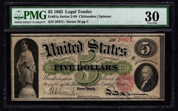 1862 $5 Legal Tender PMG 30 VF Fr.61a United States Note Item #1604048-013