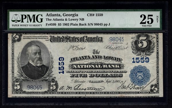 1902 $5 Atlanta & Lowry NB National Bank Georgia PMG 25 NET Fr.599 Charter Ch#1559 Item #1520489-003
