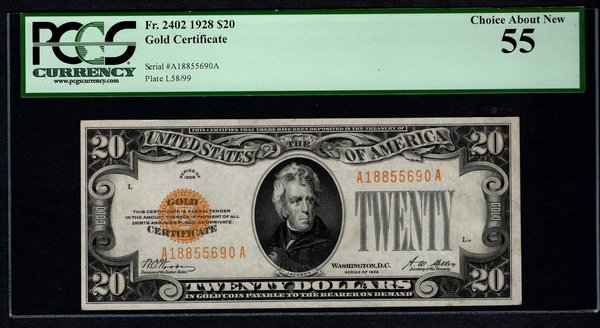 1928 $20 Gold Certificate PCGS 55 Fr.2402 Item #80803529