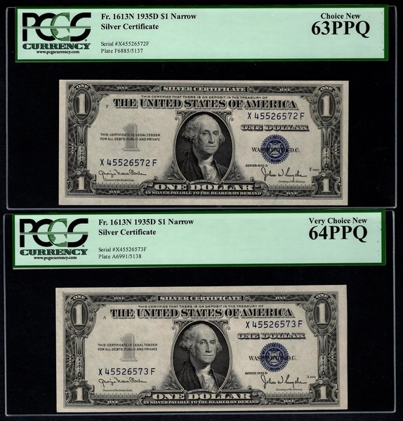 Lot of Two Consecutive 1935D $1 Silver Certificates PCGS 63 PPQ & 64 PPQ Fr.1613N Item #80651186/87