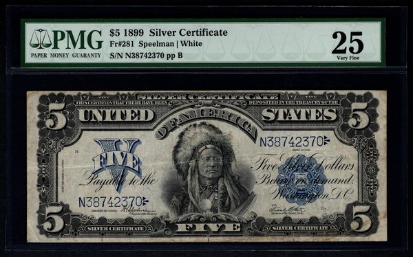 1899 $5 Silver Certificate Indian Chief Note PMG 25 Fr.281 Item #1192956-002
