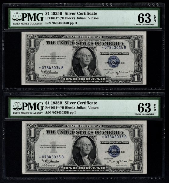 Lot of Three Consecutive 1935B $1 Star Silver Certificates PMG 63 EPQ & 63 Fr.1611* Item #1721266-009/010/011