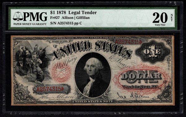1878 $1 Legal Tender PMG 20 NET Fr.27 United States Note Item #5004642-013
