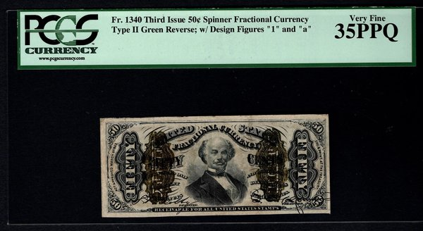 Third 3rd Issue 50 Cents PCGS 35 PPQ Fr.1340 Spinner Fractional Currency Item #80458720