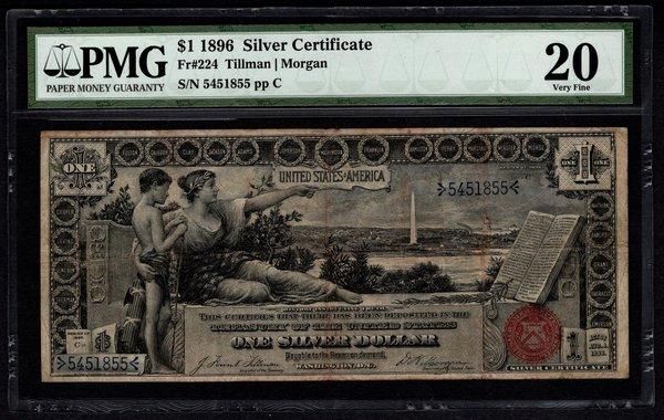 1896 $1 Educational Silver Certificate PMG 20 Fr.224 Item #5004642-001