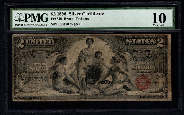 1896 $2 Educational Silver Certificate PMG 10 Fr.248 Item #5004652-009