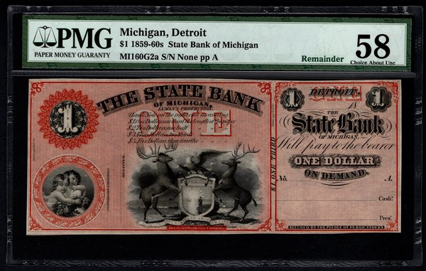 1859-1860's $1 Detroit State Bank of Michigan PMG 58 Obsolete Note with Deer Scene Item #8036366-014