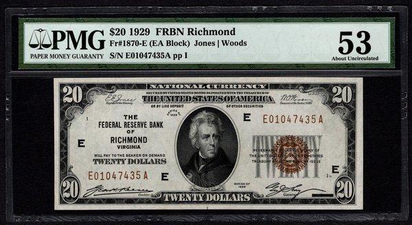 1929 $20 Richmond FRBN PMG 53 Fr.1870-E Item #2506742-015