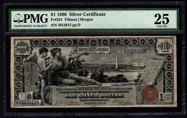1896 $1 Educational Silver Certificate PMG 25 Fr.224 Item #5004658-012