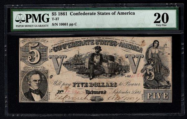 1861 $5 T-37 Confederate Currency PMG 20 Very Fine Civil War Note Item #5012316-006