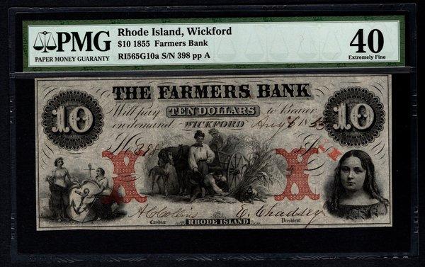1855 $10 Farmers Bank Wickford RI Rhode Island PMG 40 Obsolete Note Item #5004680-002