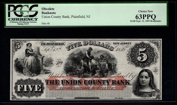 1859 $5 Union County Bank Plainfield NJ New Jersey PCGS 63 PPQ Obsolete Note Item #80201831